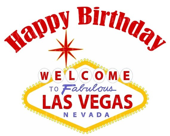 Las Vegas Happy Birthday - Edible Cake and Cupcake Topper For Birthday's and Parties! - D22762