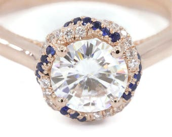 Forever One Moissanite Engagement Diamond Rings, Braided Halo Ring, Designed Copyrighted By Irina