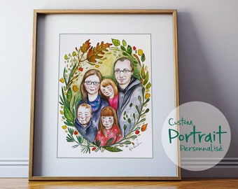 """14""""X17"""" CUSTOM portrait, familly portrait, made to order. Watercolor illustration of your chidren, familly, animals or couple."""