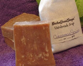 Cinnamon Spice cold process handmade goat's milk soap, handcut bars