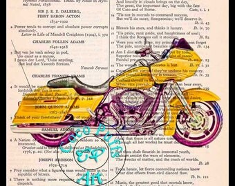 2012 Yellow Road Glide HD Motorcycle Art Beautifully Upcycled Vintage Dictionary Page Book Art Print, Drawing