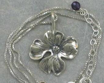 Sterling Silver 3-D Dogwood Flower Pendant
