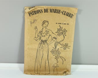 1940 Vintage french sewing nightdress pattern by Les Patrons de Marie Claire Elegance de Paris collection