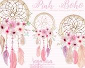 Pink Floral Dreamcatcher Watercolor clipart, PNG, wedding, bouquet, arrangement,  digital art, pink flowers, bridal shower, for blog banner