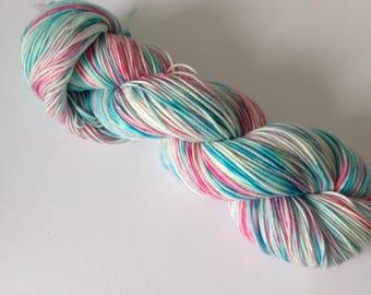 hand dyed yarn, dk weight, crazy 8 base. 100% superwash merino,
