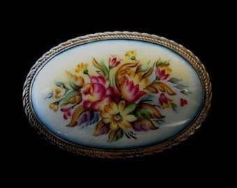 Floral Broach Russian Enamel Jewelry