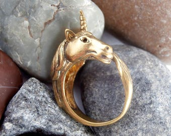 Unicorn Ring - Vintage Jewelry - Brass - Adjustable Ring - Animal Ring