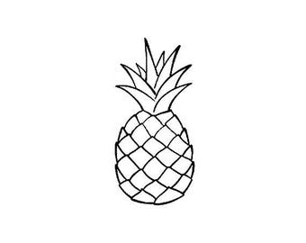 "MINI PINEAPPLE STAMP , tropical stamp, tropical fruit, small pineapple, cute pineapple stamp, pineapple silhouette, 1.1"" x 0.6"" (minis40)"