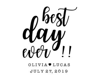 Best Day Ever Stamp, Personalised Wedding Stamp, Wedding Favours Stamp, Gift Tags Stamp, Wedding Labels, Custom Stamp, (cts226)