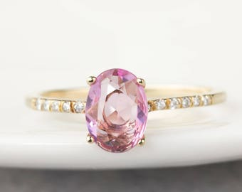 14k gold 0.81ct natural light pink sapphire pave engagement ring, diamond pave ring, oval, unheated light pink sapphire ring, can-r102