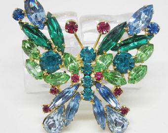 """Vintage Rhinestone Jewelry -  """"Juliana"""" Butterfly Brooch Pin - Verified - Delizza & Elster"""