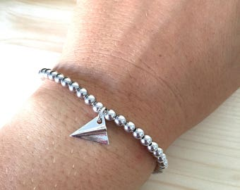 ON SALE! Bracelet with aluminum beads and engraved Initial disk