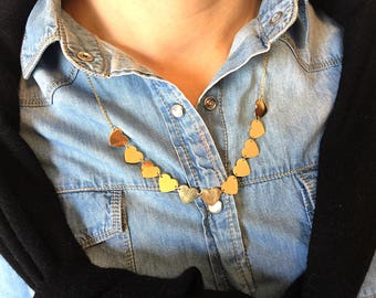 Gold-plated steel necklace with hearts