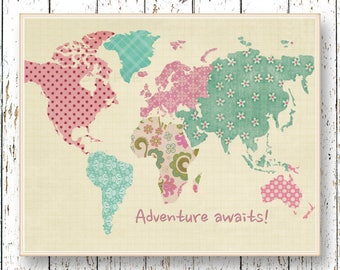 World Map Artwork Adventure Awaits Family Room Playroom - World map for playroom