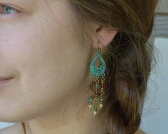 Sale Bohemian Earrings, Verdigris Jewelry, Bohemian Jewelry, Patina Earrings, Chandelier Earrings, Long Beaded Earrings, Czech Glass Earring