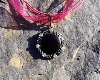 Black Flower on Pink Ribbon Thong Necklace