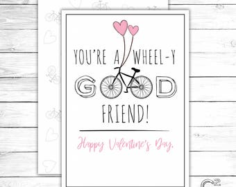 INSTANT DOWNLOAD: Bicycle Valentine's Day Card