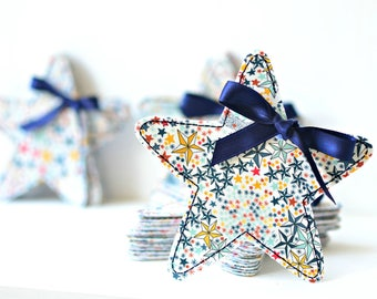 Pockets with dragées, star pocket with dragées, dragee container Liberty, wedding gift, baptism gift, personalized dragee stars