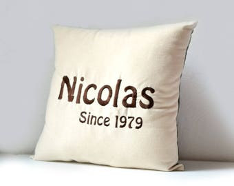 embroidered cushion name, since cushion, first name embroidered cushion & year of birth, silver and black name cushion, since custom cushion