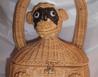 MONKEY Bandit! Fun Figural Straw Purse ~Vintage 1950s-1960s Rattan Bag~ WILD Wicker Novelty Handbag in Great Shape ~Rare Retro Raffia Shape!