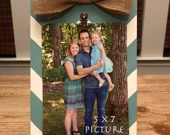 Chevron Picture Frame with Burlap Bow, Clipboard Frame
