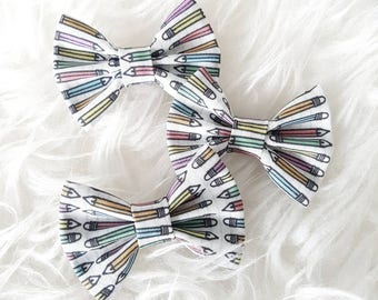 Back to School Pencil Crayons Classic Bow  -  headband or clip