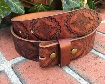 Size medium  34 inch soft Full Grain leather embossed brown belt strap