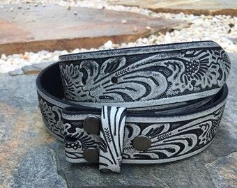 Size (34)   genuine leather vintage grey / black distressed leather belt strap bohemian belt strap western snap belt strap 1 & 1/2 inch belt