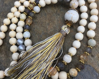 Beaded tassel necklace wood beaded necklace neutral bohemian tassel necklace white stone beads long beaded yellow gray tassel necklace
