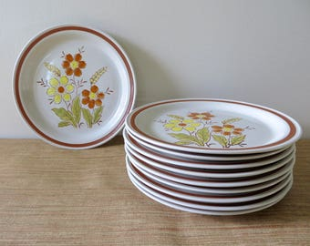 Vintage Autumn Collection Stoneware Wheat Flower Dinner Plates - Hand Painted Retro Stoneware Japan (10 Available)