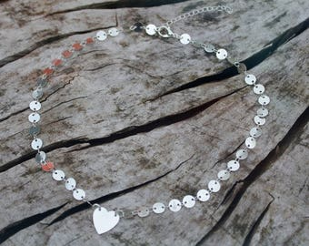 Silver Heart Coin Chain Layering Necklace *Dainty Boho Festival*