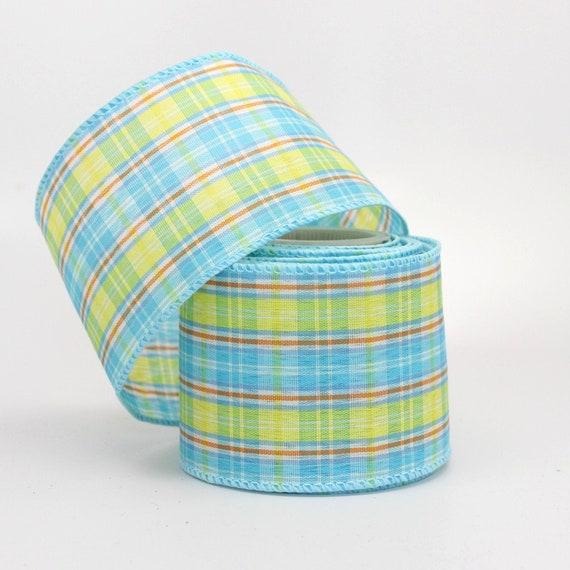 Blue Yellow Plaid Wire Edge Ribbon - 3 Yards Wire Ribbon, Ribbon for ...