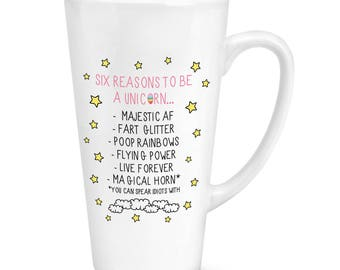 Reasons To Be A Unicorn 17oz Large Latte Mug Cup