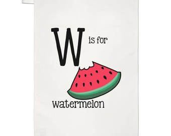 Letter W Is For Watermelon Tea Towel Dish Cloth