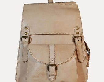 Leather backpack heavy effect studded large multi-Pocket