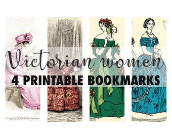 Victorian ladies vintage bookmarks, printable bookmarks, digital collage sheet,women in period costumes, victorian dresses, instant download