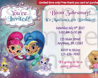 Shimmer and Shine Birthday Invitation, 5x7, 4x6, DIGITAL file, Limited time only! Free thank you card with purchase!