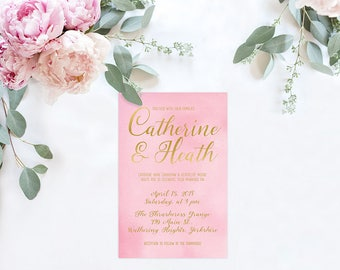 Pink Wedding Invitations / PRINTED Pink and Gold Watercolor Wedding Invitations