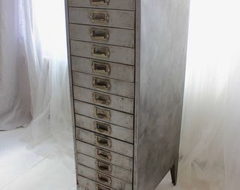 Felix Tall and Narrow Reclaimed Vintage Urban Industrial 1940s Stripped Steel 15 Drawer Filing Cabinet
