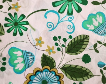 Fabric cotton blue flowers