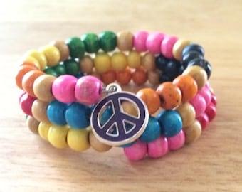 Retro hippie love & peace beads - it's a wrap!