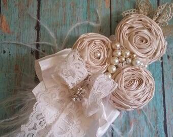 Baby Christening lace  headband, ivory and cream bow, lace  bow, baptism headband, newborn headband, headbands, vintage
