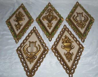 Set of 5 Vintage 1971 Homco Diamond Shape Wall Plaques