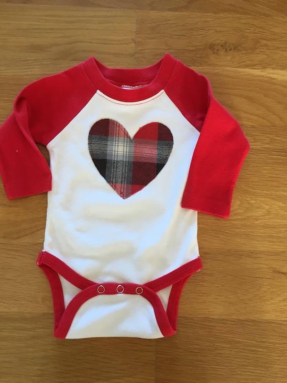 Buffalo plaid flannel heart raglan onesie or shirt, baby big kid sizes, monogram available, Valentine's Day shirt boy or girl, flannel heart