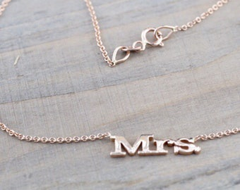 14k Solid Rose Gold MRS necklace with chain 17 total