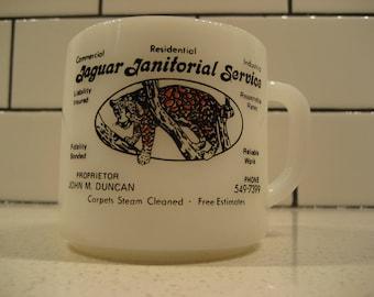 40% OFF SALE // Vintage Advertising Fireking Mug - White - Jaguar Janitorial - Pen holder - Make-up brush holder - Paint brush holder