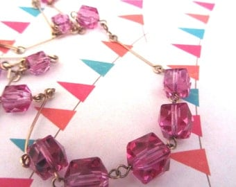Art deco cranberry choker, pink glass necklace, crystal choker, linked brass glass necklace, gold linked cube glass necklace