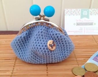 Retro purse, purse, denim blue, made in crochet
