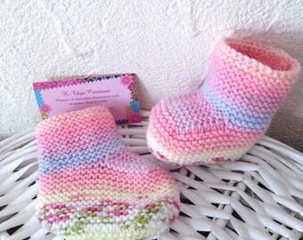 Chaussons bottons bébé multicolore taille 0 - 5 mois