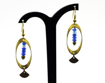 """Earrings """"perspective"""" Oval brass and Jade"""